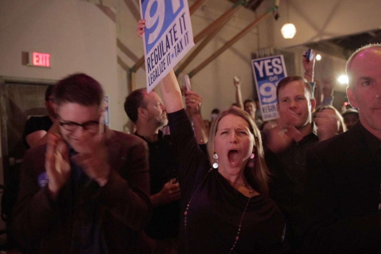 Supporters celebrate the passage of Measure 91, legalizing marijuana in Oregon on Nov. 4, 2014 in Portland, Oregon.