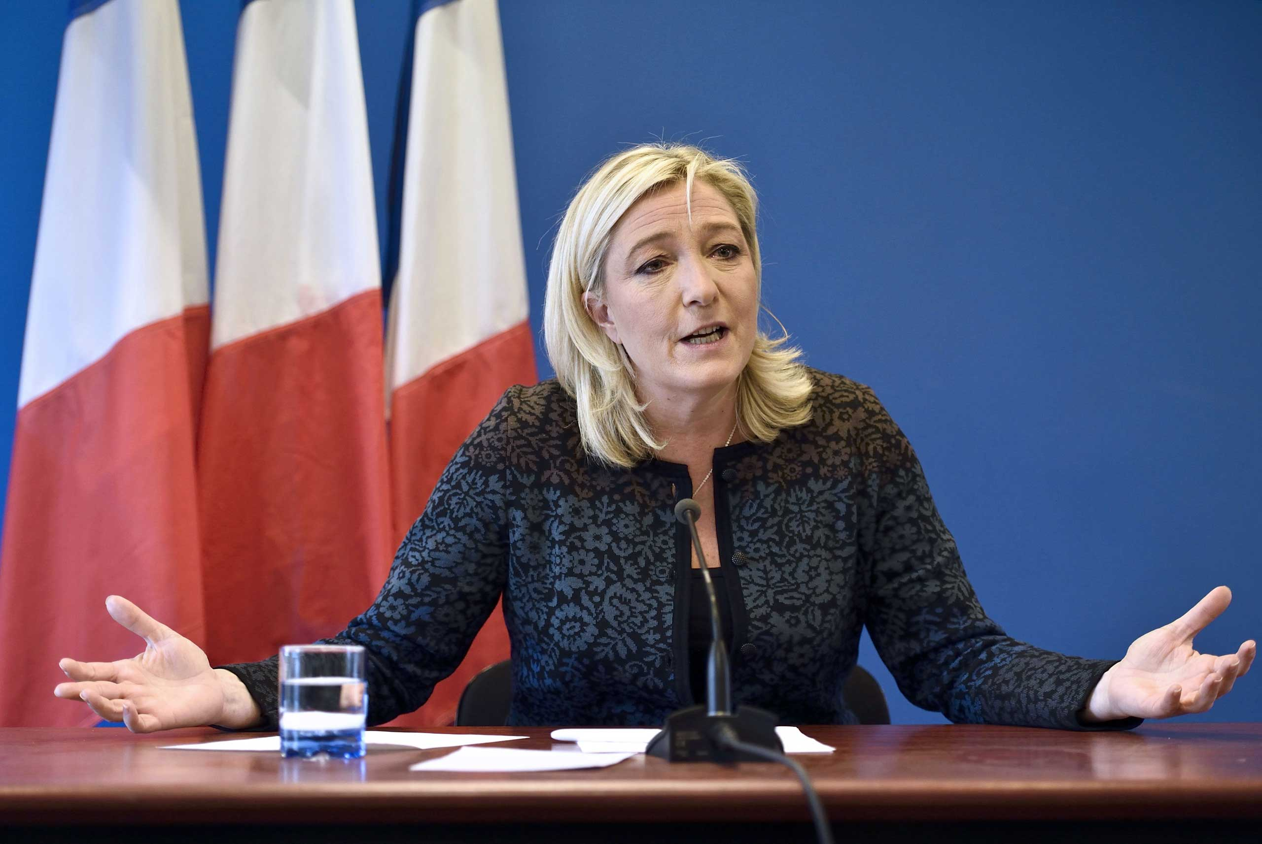 National Front president Marine Le Pen gives a press conference on Nov. 7, 2014 in Nanterre, near Paris.