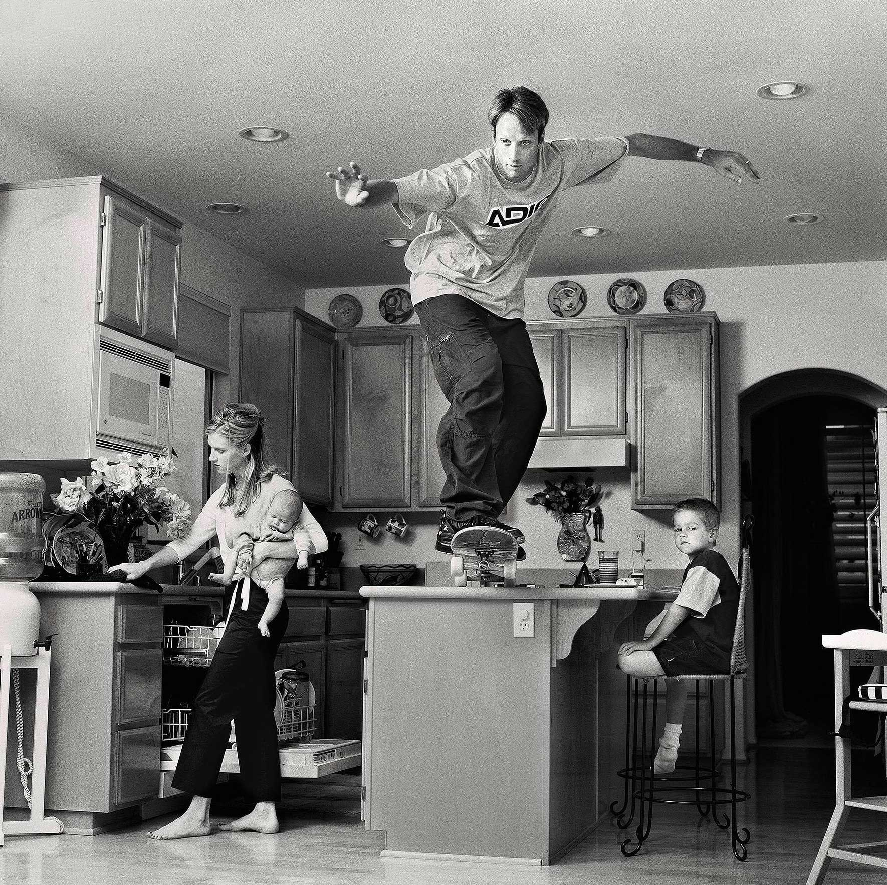 Here, Martin Schoeller talks TIME through a selection of high profile shoots from his new book  Portraits .                                                              Tony Hawk.                                                                It was a crazy day. I had another shoot the night before and I had to drive down at 3 or 4 in the morning. We showed up at his house before sunrise. I had thought skaters are always trying to break rules — jumping off cars. Skateboarding has that bad boy connotation. So I thought he's more of a family man he's a bit older, but still maybe to take a picture that still shows skateboarding culture in a family setting. And when I came to the house and saw this great kitchen counter, I had this spontaneous idea of him jumping off it.                                                              He said 'no!' It was 6.30 in the morning and he didn't feel like jumping off the counter. But I started talking to his wife. And I said 'you would be in the picture too.' And she basically talked him into it. This one picture was the reason I was offered a contract with the New Yorker.