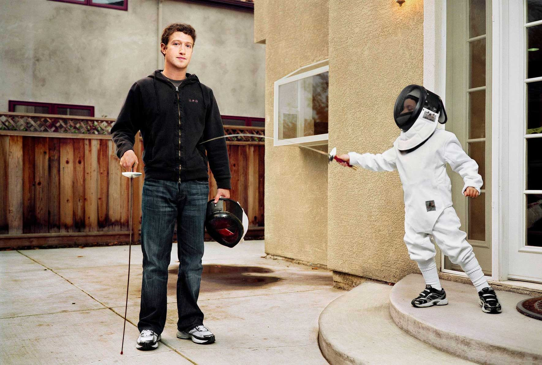 Mark Zuckerberg.                                                                This was for TIME. It took us a long time to talk him into doing something he's done in the past — fencing with Sheryl Sandberg's son. We asked them if they could fence for us in front of his house. We had a fencing uniform for him, [but] he didn't want to wear it. I told the little boy: 'Why don't you just [jab] him in his belly!' So the little guy just kept on [jabbing]. We spent three days there, wrangling with his people [to get this shot]. He was flattered to be Person of the Year.