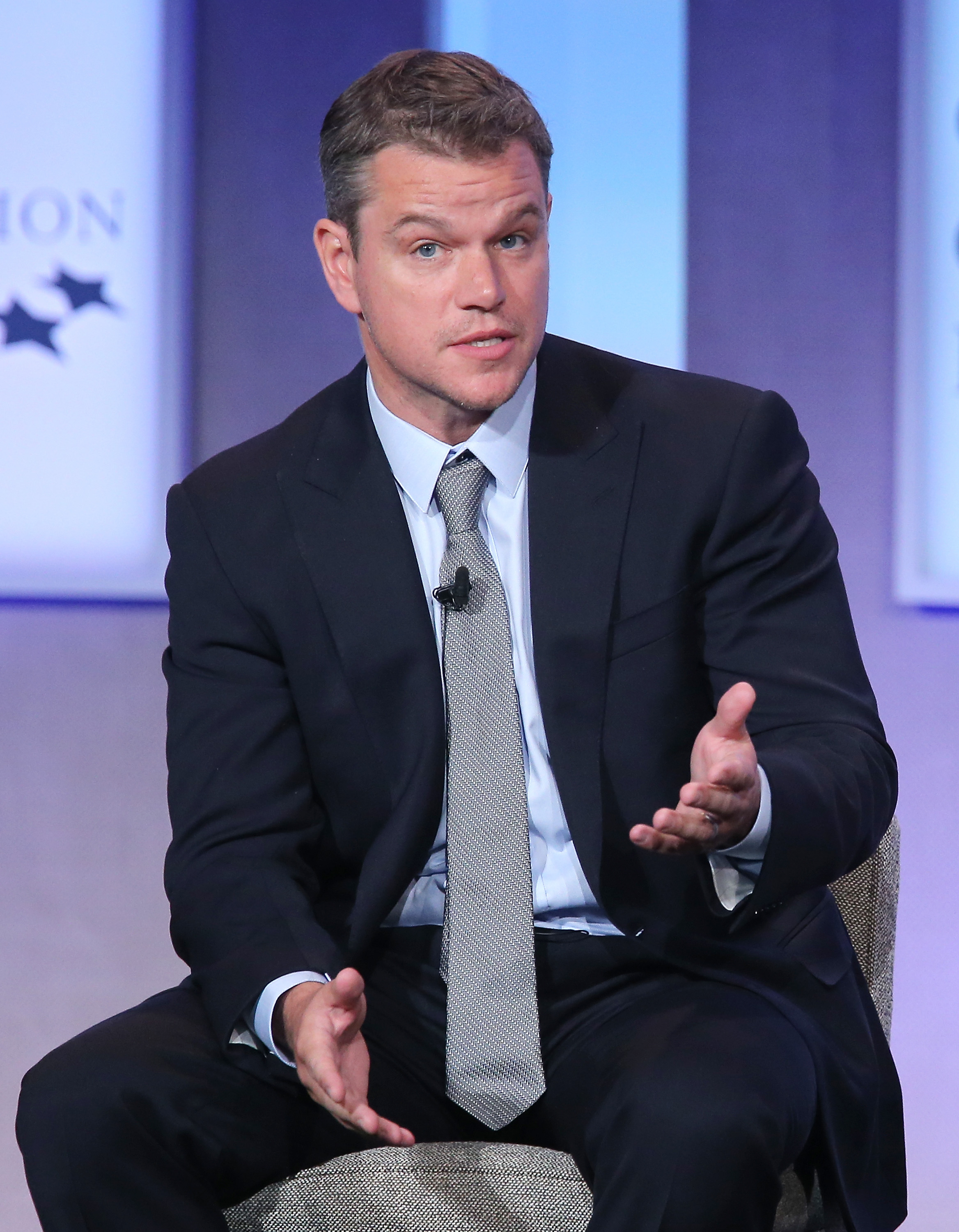 Actor Matt Damon speaks at the Clinton Global Initiative Meeting on the third day of the Clinton Global Initiative's 10th Annual Meeting at the Sheraton New York Hotel & Towers on September 23, 2014 in New York City.
