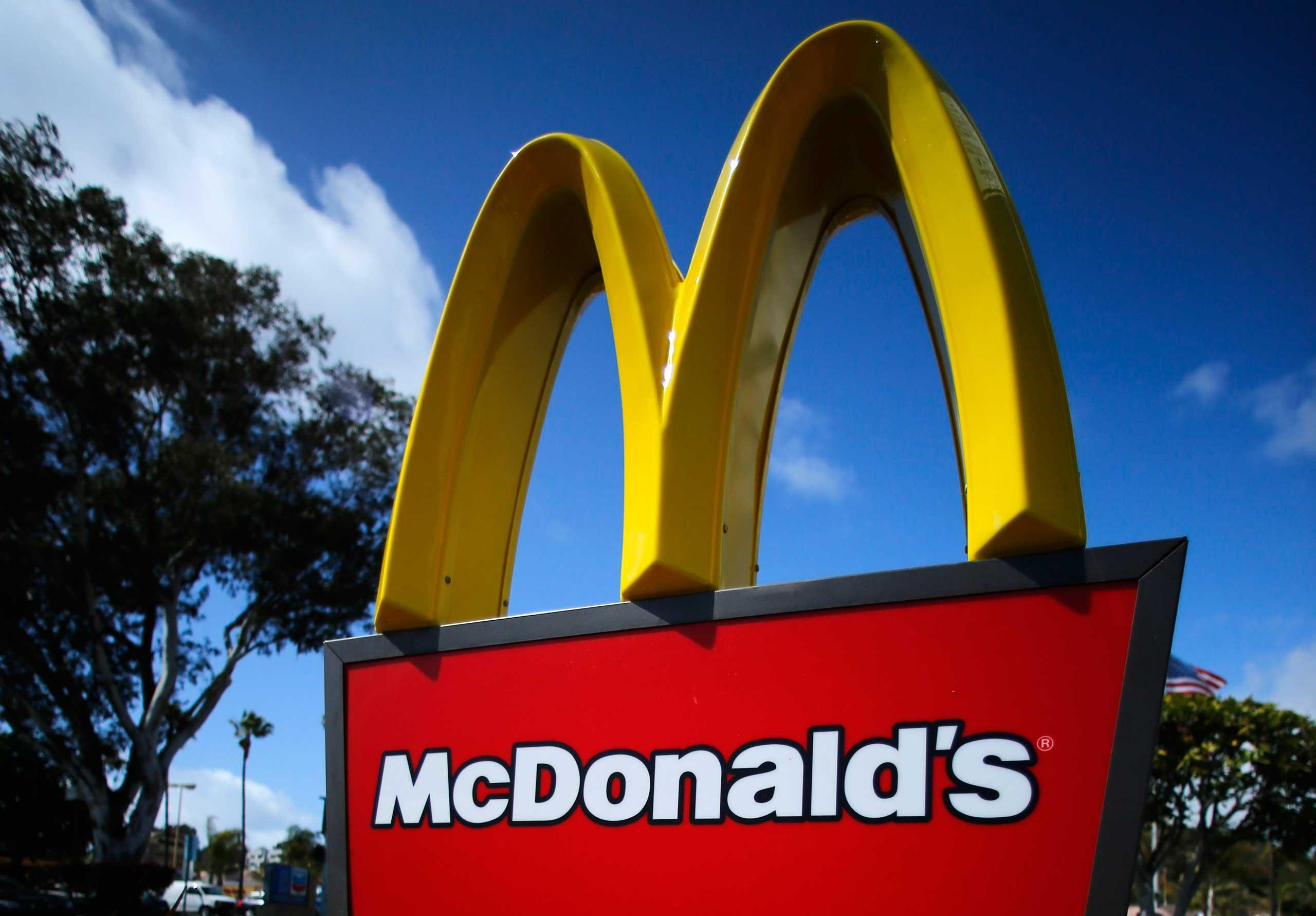 A McDonald's restaurant sign is seen at a McDonald's restaurant in Del Mar, Calif. on April 16, 2013.