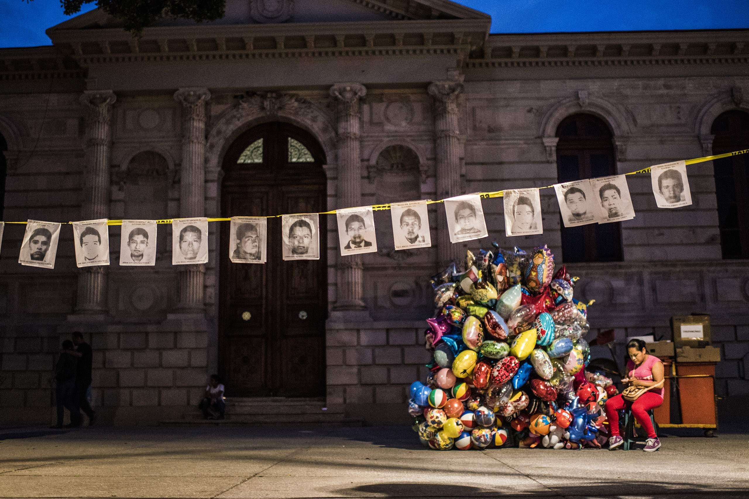 Grim memorial Portraits of the missing students hang in the main square of Chilpancingo, the capital of Guerrero state.