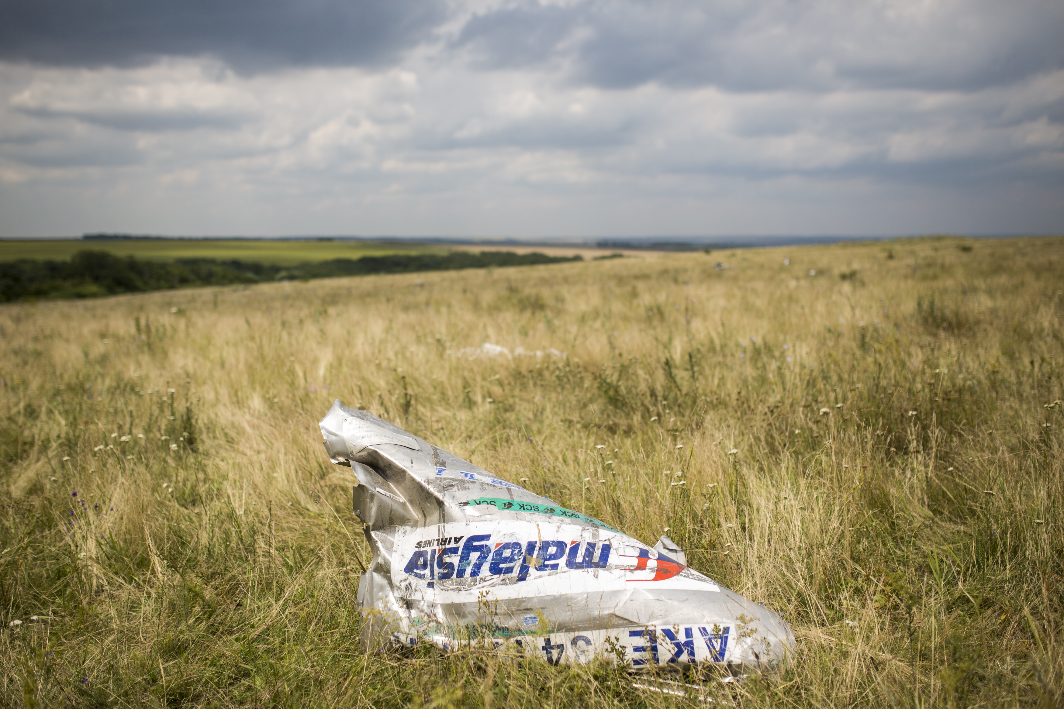 Wreckage from Malaysia Airlines flight MH17 lies in a field on July 22, 2014 in Grabovo, Ukraine.