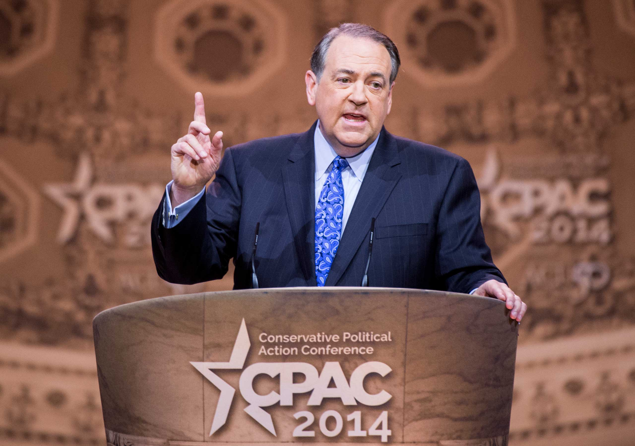 Former Arkansas Gov. Mike Huckabee speaks during the American Conservative Union's Conservative Political Action Conference (CPAC) at National Harbor, Md., March 7, 2014.