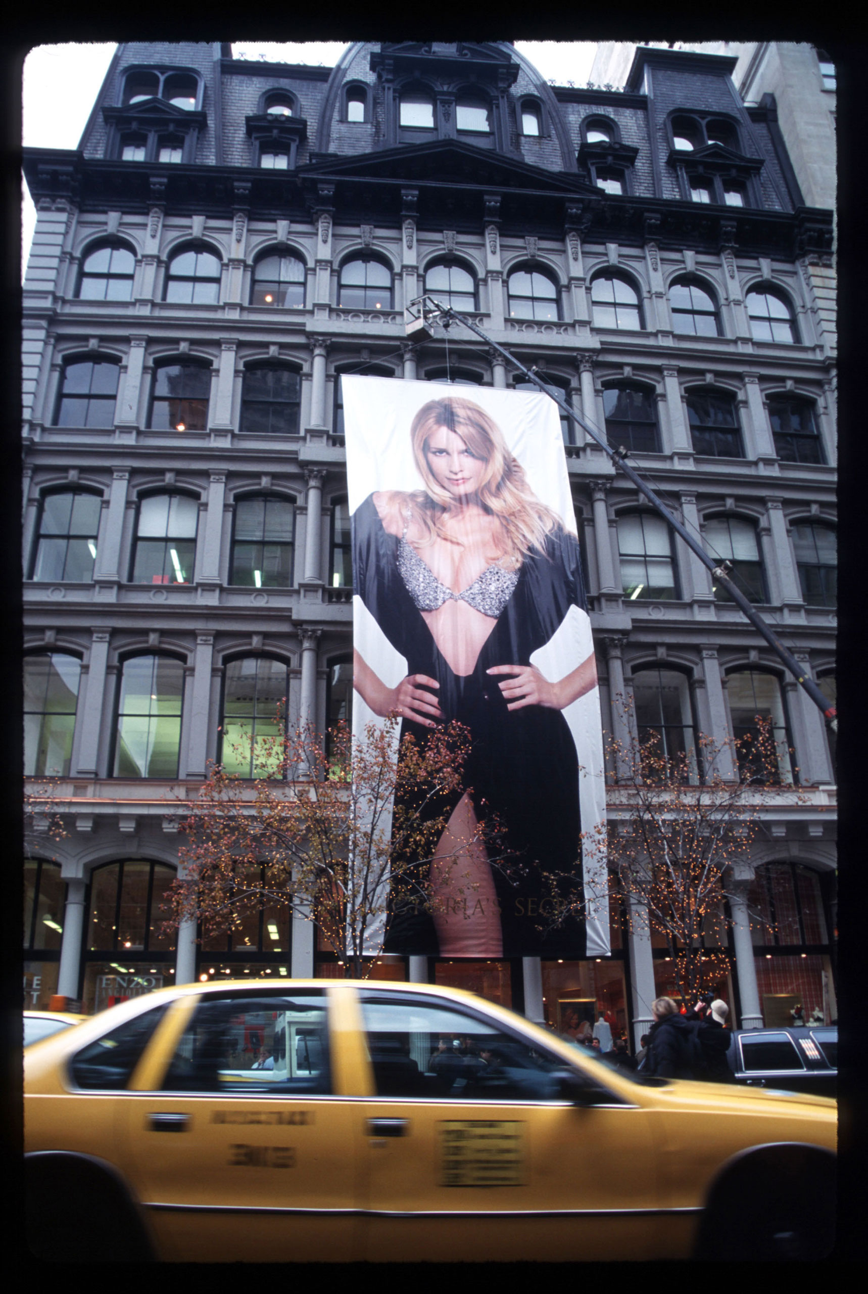 "<strong>The Million Dollar Miracle Bra</strong> Launched with this five-story likeness of Claudia Schiffer on Dec. 4, 1996 in New York City, the diamond-encrusted push up bra was the first of Victoria Secret's yearly Fantasy Bras. The price tag on these luxury lingerie items has increased exponentially since then, and for the first time the company will debut <a href=""http://www.cosmopolitan.com/style-beauty/fashion/news/a32800/victorias-secret-fashion-show-2014-fantasy-bra/?click=_hpTrnsprtr_5"" target=""_blank"">two Fantasy Bras</a>, valued at $2 million each, at the 2014 Victoria's Secret Fashion Show."