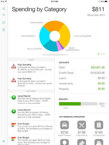 <strong>Mint Personal Finance.</strong> Instead of downloading separate apps to keep track of each credit card and bank account you own, try Mint. The free app connects to all your accounts and displays your balances, lets you customize a budget and shows your spending trends organized by category.