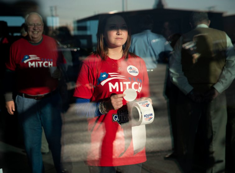 Supporters of Sen. Mitch McConnell attend a campaign rally at Bowling Green-Warren Co. Regional Airport in Bowling Green, Ky. on Nov. 3, 2014.