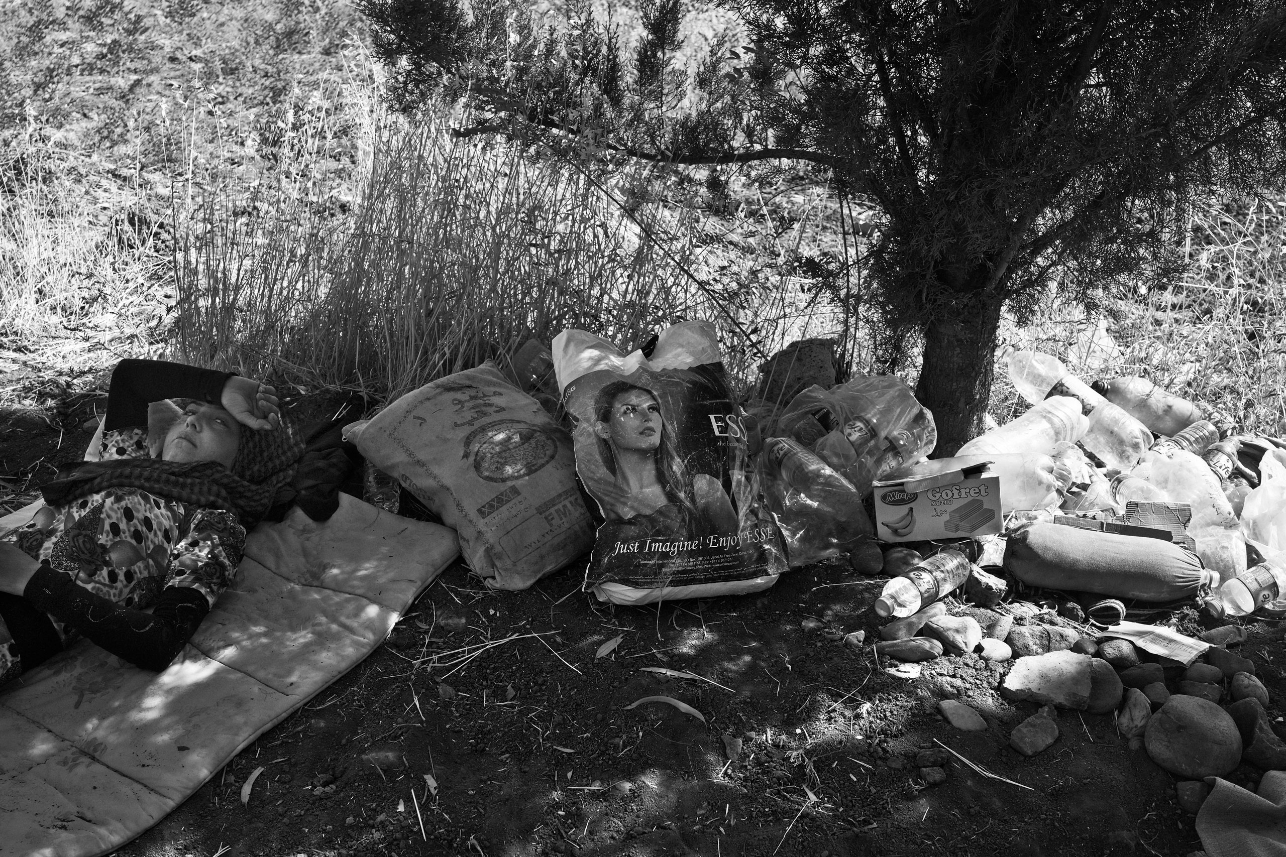 Nada, a 12-year-old Yezidi girl from Sinjar, rests under a tree next to her family's belongings shortly after crossing into Kurdish-controlled Dohuk Province. Fishkhabur, Iraq. Aug. 11, 2014.