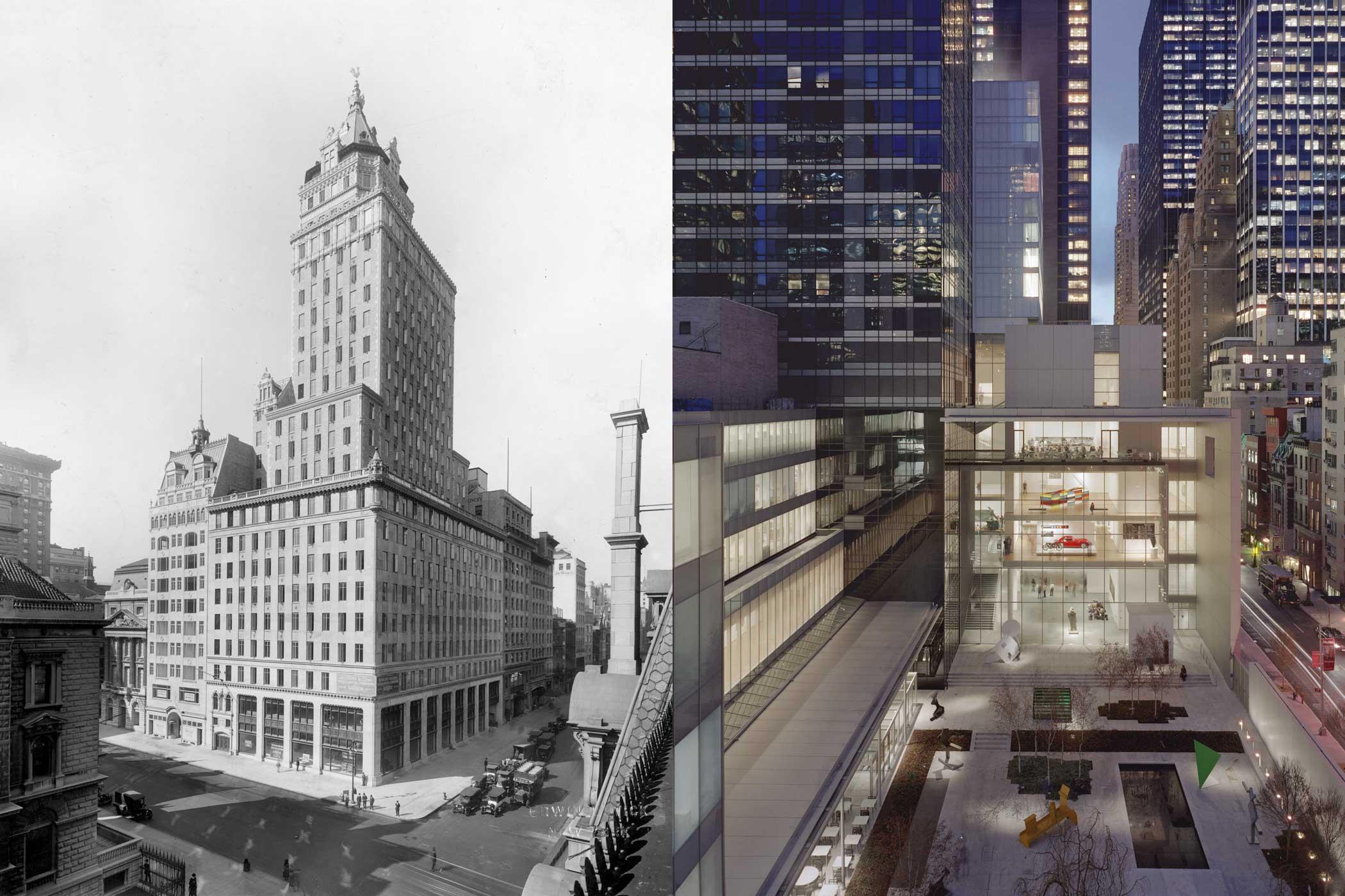 Left: The Heckscher building circa 1925; Right: The current day Museum of Modern Art and its outdoor sculpture garden.
