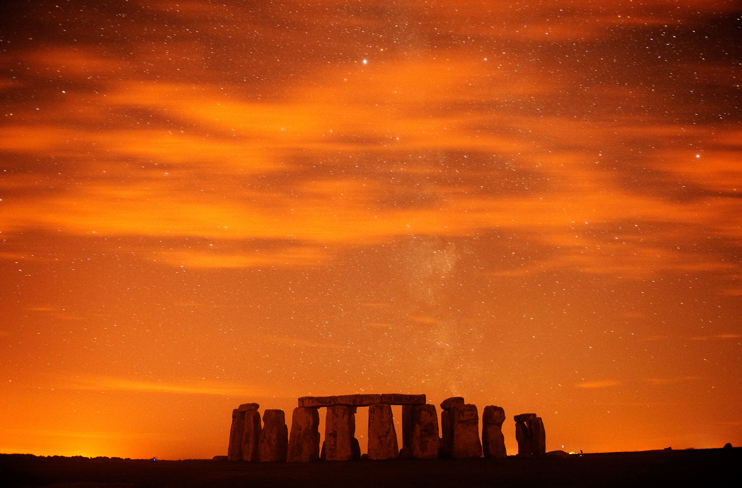 Stonehenge during a Perseid meteor shower  in Salisbury Plain, England on Aug. 13, 2013.