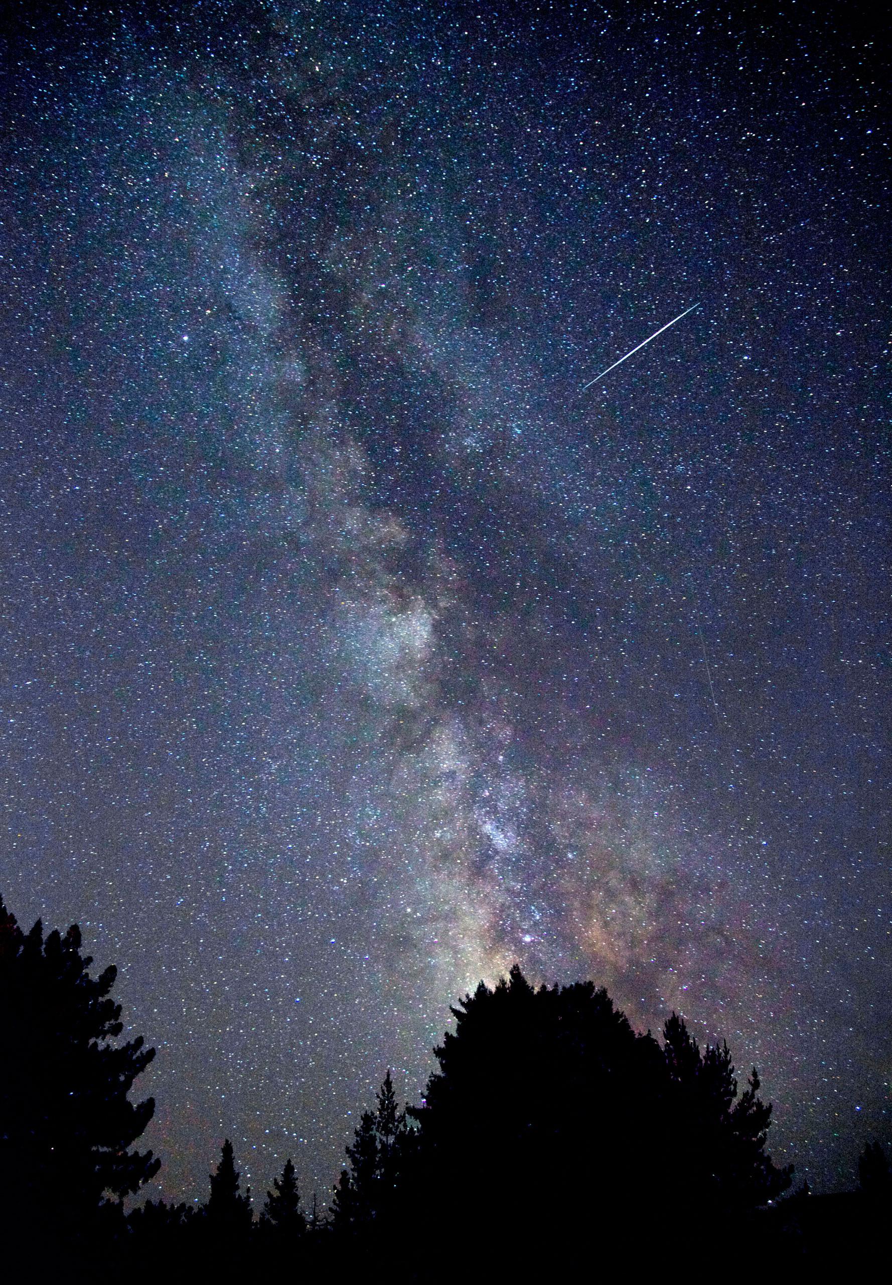 A Perseid meteor shower set against the Milky Way in Sebastopol, Calif., on Aug. 12, 2010.