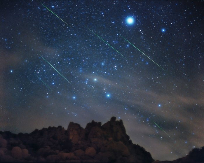 A multiple exposure of a Leonid meteor shower over Joshua Tree National Park.