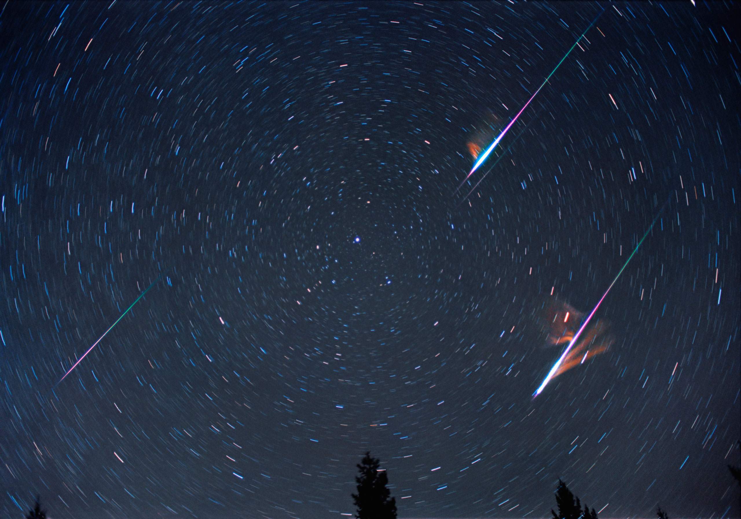 A Leonid meteor shower, centered on Polaris, the North Star. The smoky residue of the meteor trails have been blown by upper atmospheric wind. The color shift is due to the meteoroid burning.