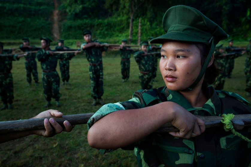 High School and University students receive drill instructions in Laiza, Kachin Independence Army controlled territory of Kachin State, Burma, Nov. 10, 2014.