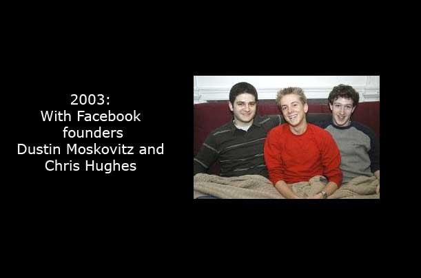 Zuckerberg, right, sits with Facebook's other founders. The tale of the company's earliest days inspired the film The Social Network, which draws a rich, dramatic portrait of a furious, socially handicapped genius, a character who bears little resemblance to the actual Mark Zuckerberg.