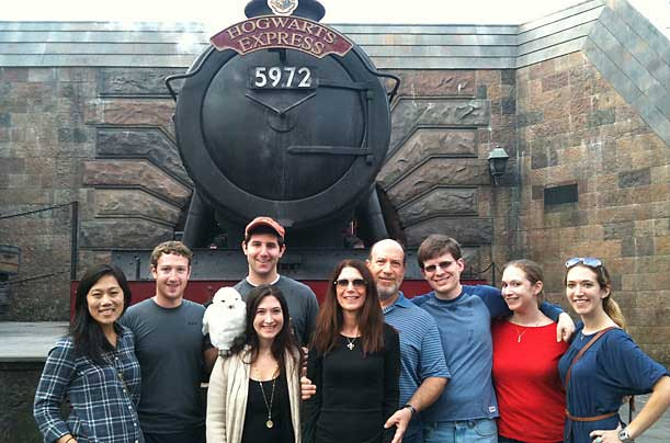 Zuckerberg and his family visit the Wizarding World of Harry Potter in Orlando for Thanksgiving 2010.