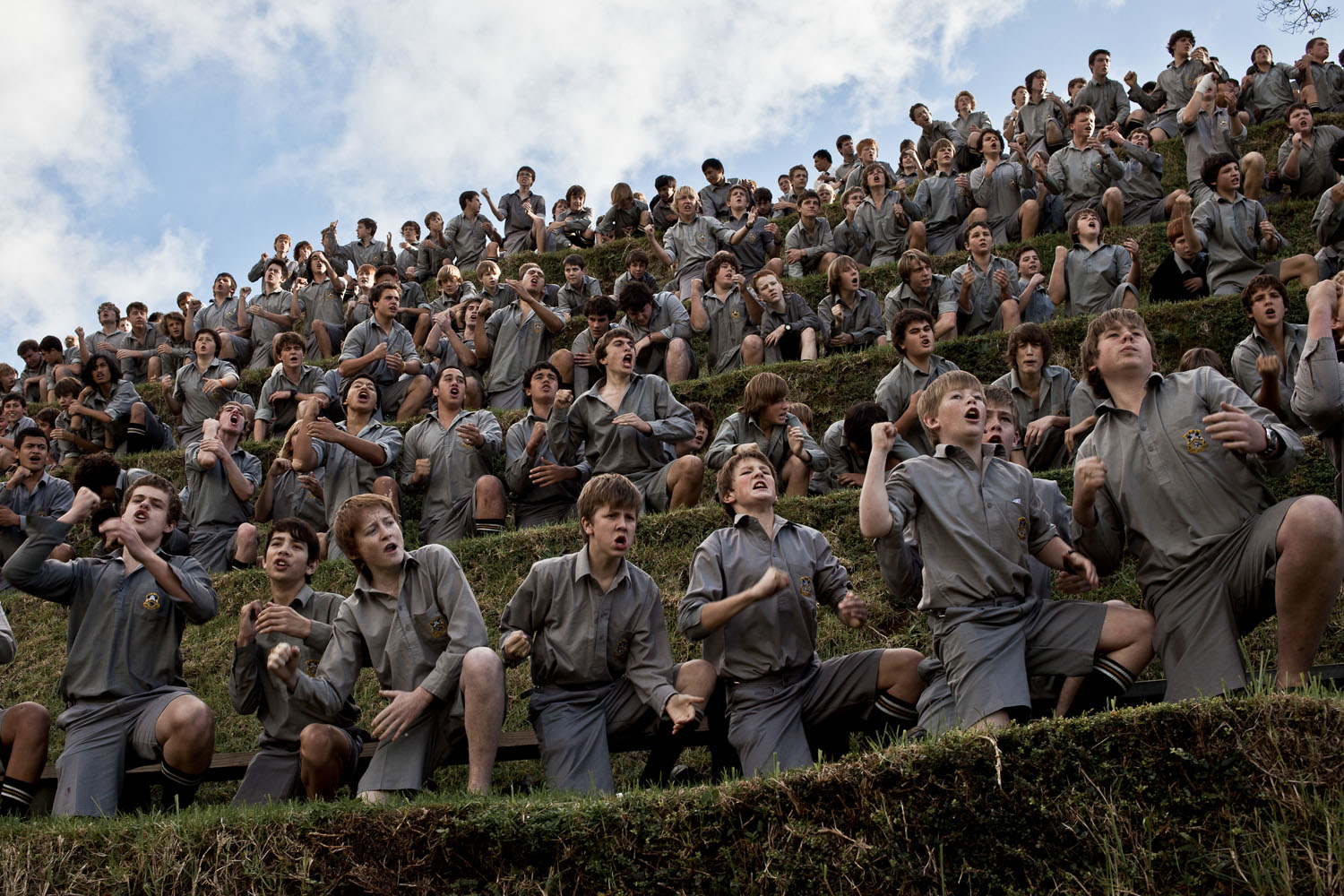 The Washington Post In Sight: Inside the Haka: New Zealand's international domination of rugbyStudents from New Plymouth Boys' High School support their team during a game against Francis Douglas Memorial College, in New Plymouth, Taranaki, New Zealand.