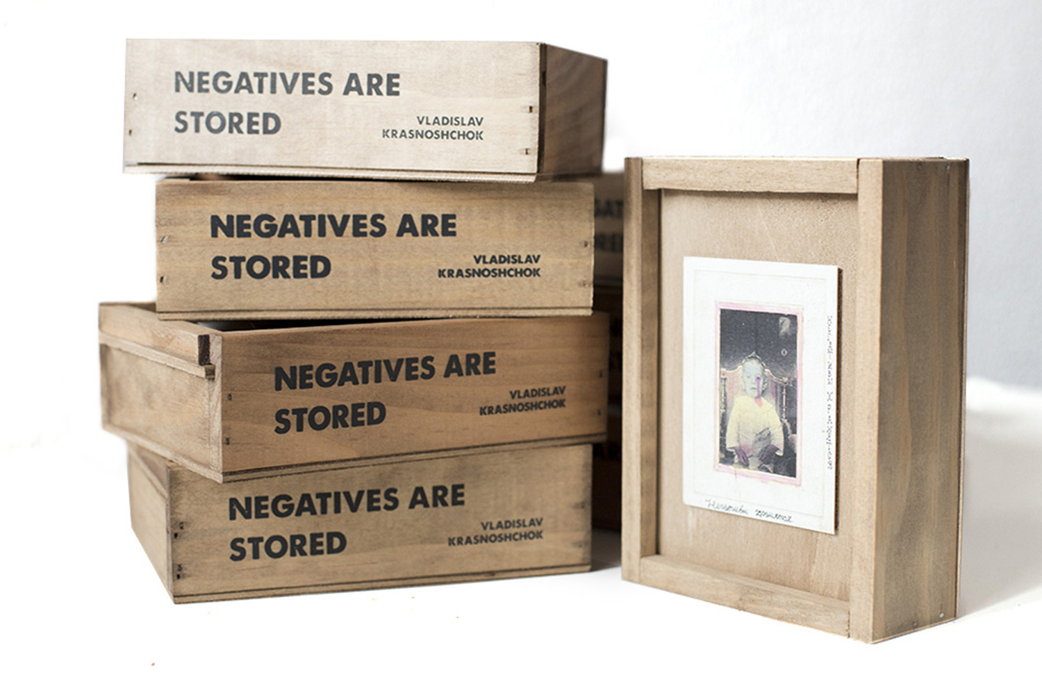 For Vladyslav Krasnoshchok's book Negatives Are Stored, the self-publishing company Riot Books created wooden boxes to store the images.