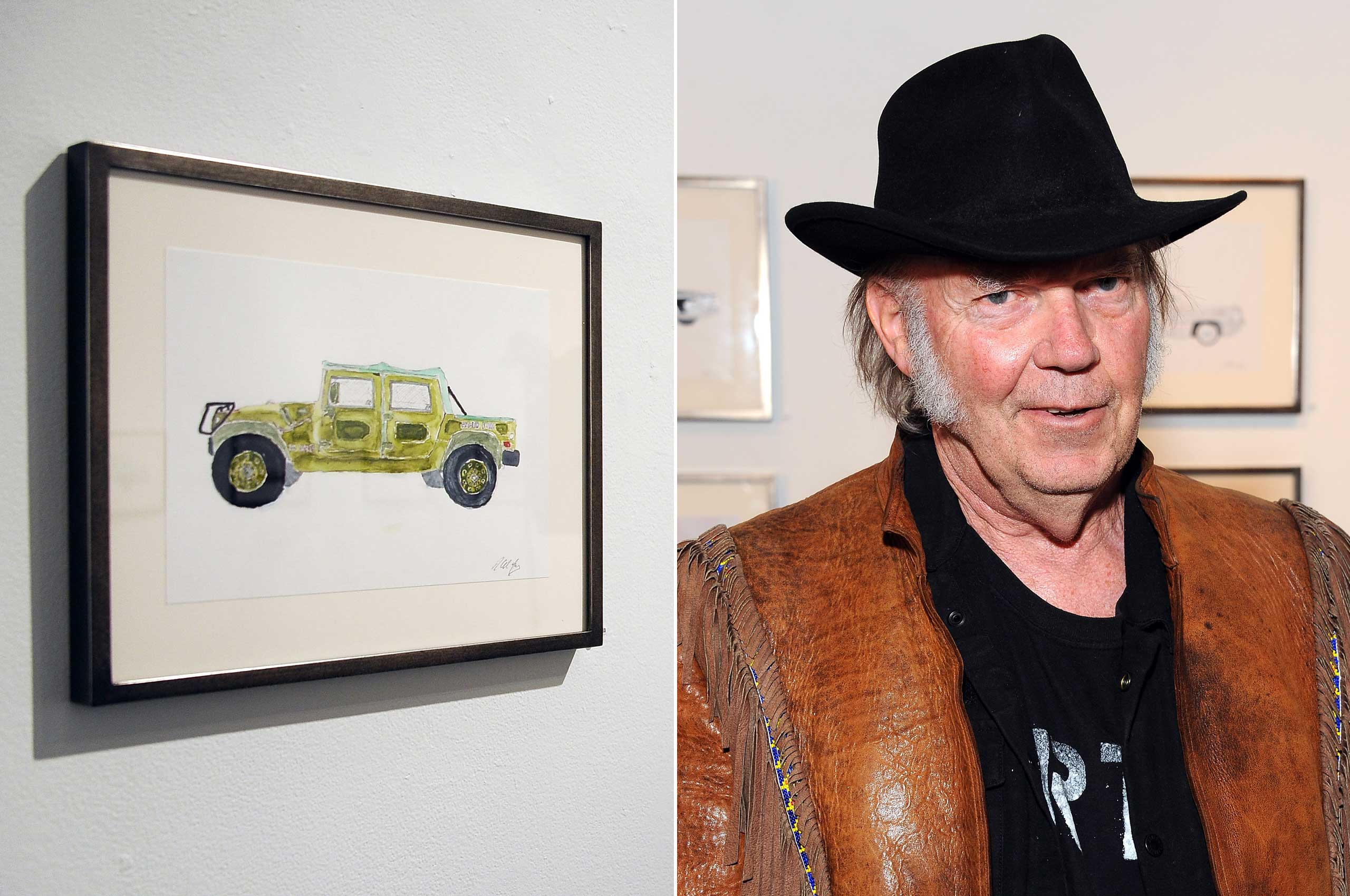 Neil Young created these watercolors depicting one of his greatest passions: cars.