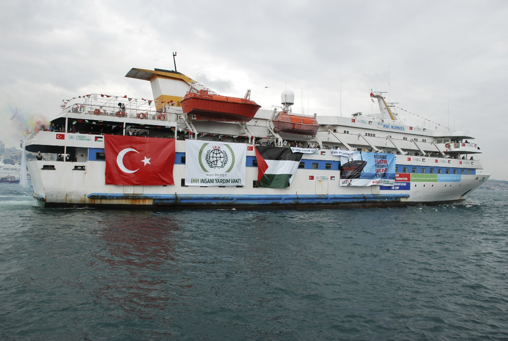 This May 22, 2010 photo provided by the Cyprus-based Free Gaza Movement shows one of the human rights group's ships, the Mavi Marmara, as it sets sail from Turkey carrying aid and hundreds of pro-Palestinian activists to the blockaded Gaza Strip.