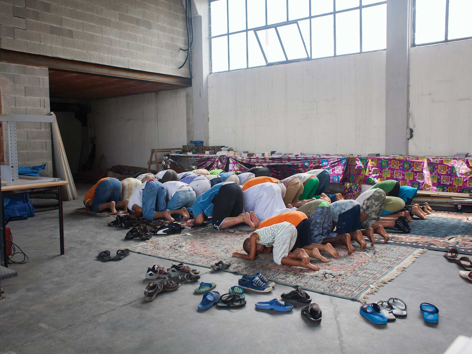 A warehouse used as makeshift place of worship for Muslims in the Province of Verona, Italy.
