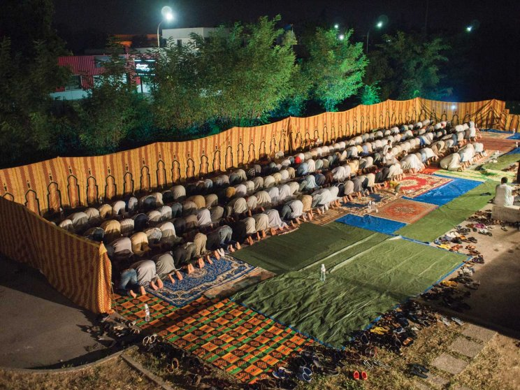 A parking lot used as a makeshift place of worship for Muslims in the Province of Treviso, Italy.