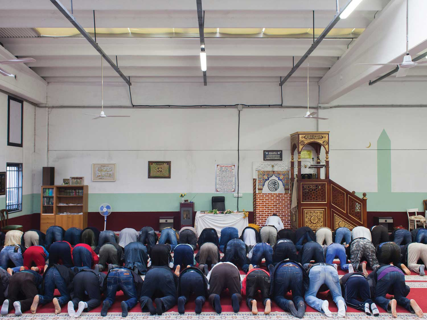 A warehouse used as makeshift place of worship for Muslims in the Province of Venice, Italy.
