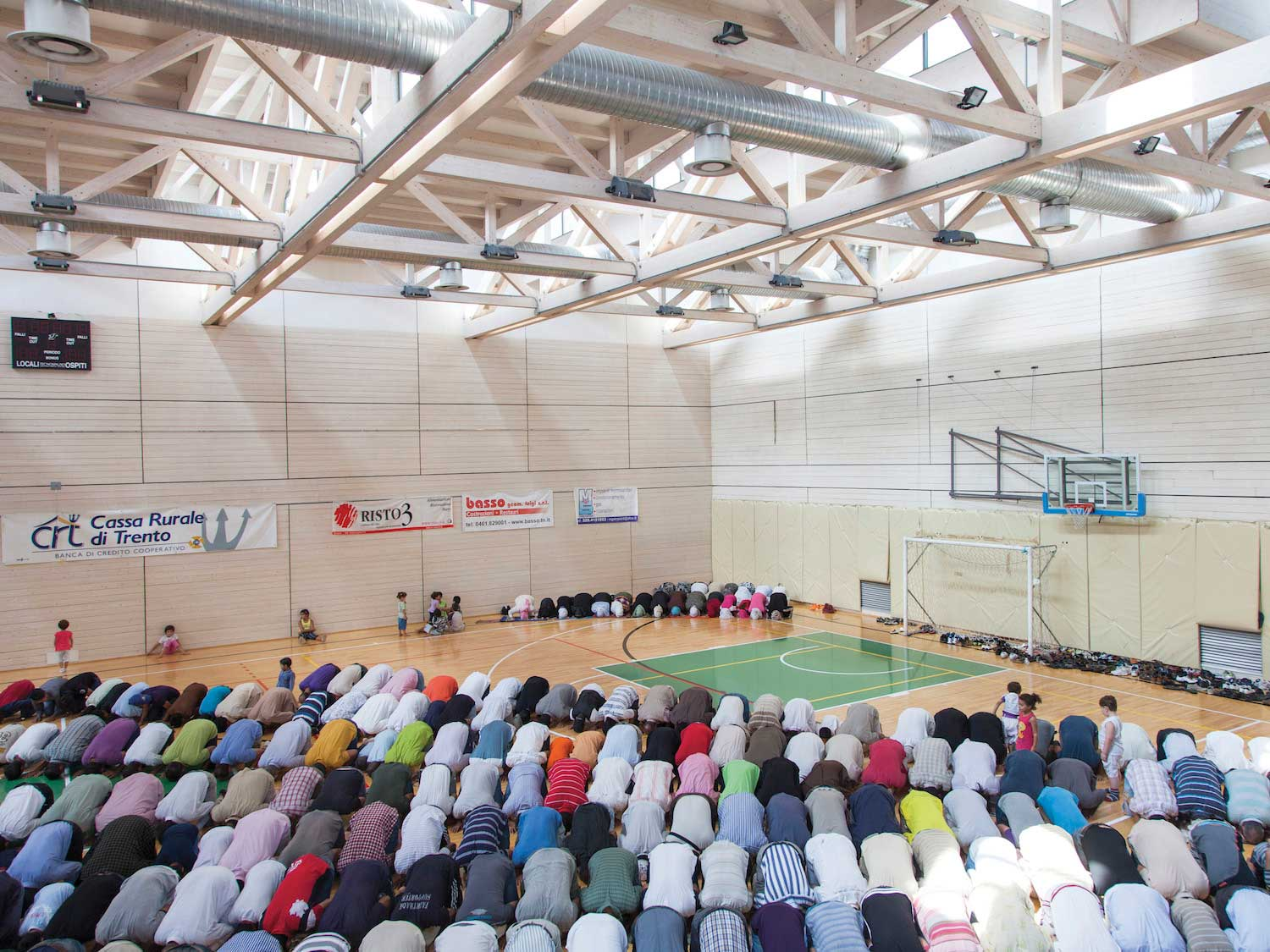 A stadium used as a makeshift place of worship for Muslims in the Province of Trento, Italy.