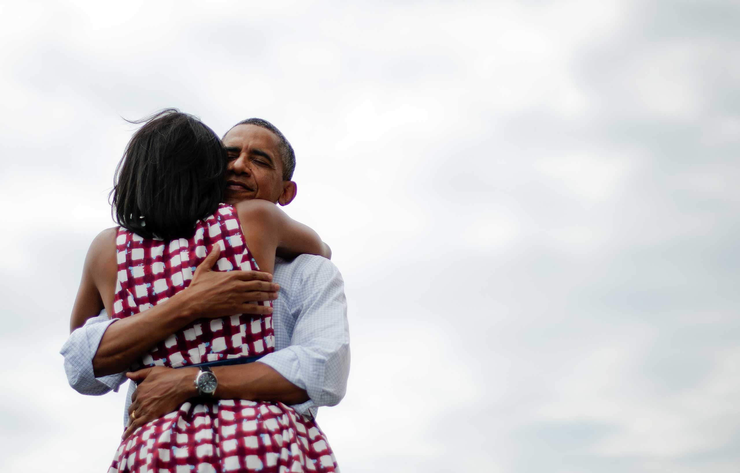 "Here's where Obama's hug game is the strongest: with Michelle.  The peaceful smile on his face, the warm, full-body embrace – this is clearly an ""I love you"" hug. Consider it the antidote to the Carney debacle."