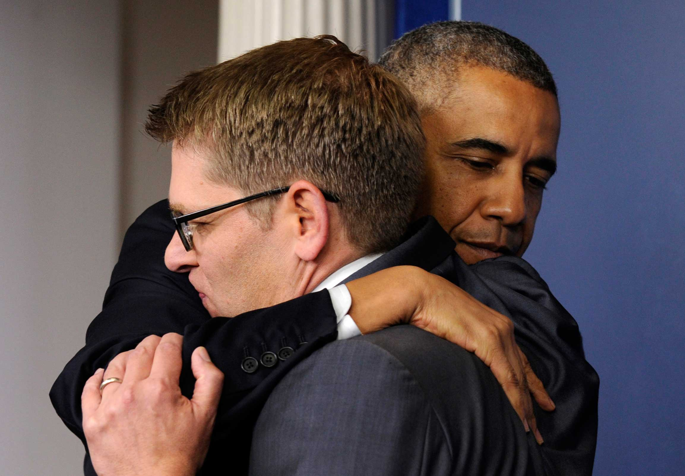 This hug between Obama and former Press Secretary Jay Carney may have been commemorating Carney's departure, but all people will remember is its awkwardness.