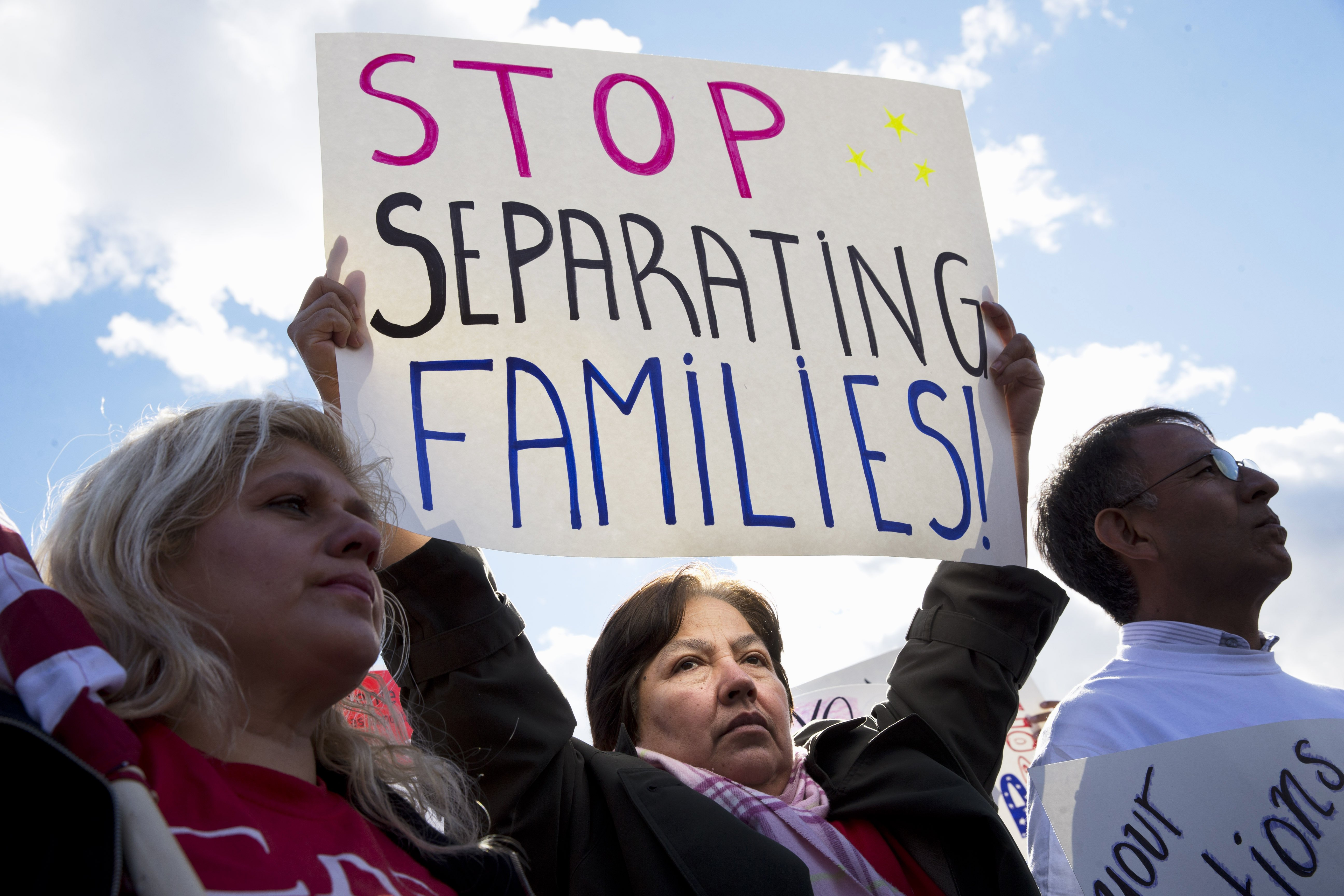 Sara Ramirez, of Gaithersburg, Md., rallies for comprehensive immigration reform outside the White House in Washington, D.C., on Nov. 7, 2014