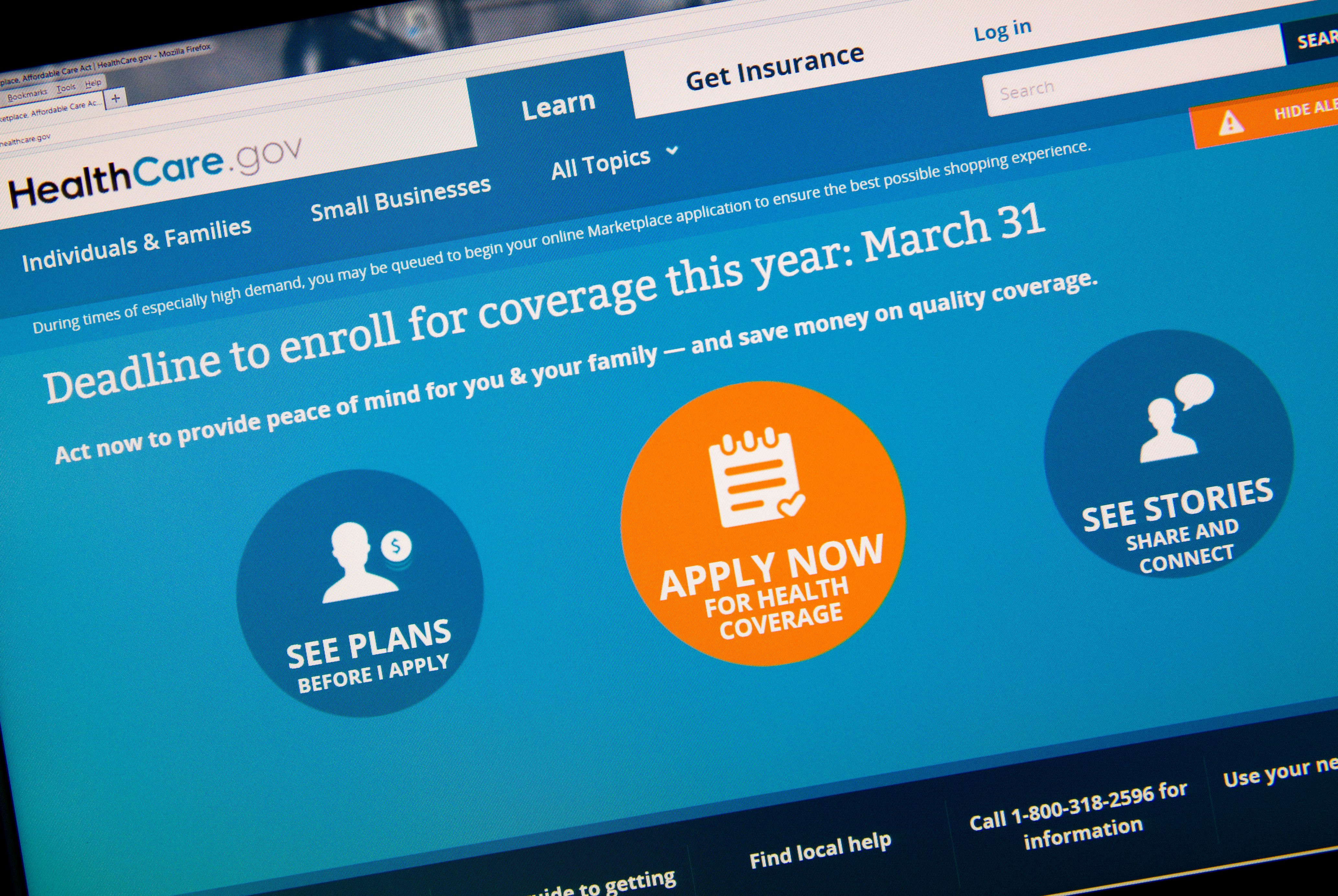 The home page for the HealthCare.gov on March 31, 2014 in Washington, D.C.