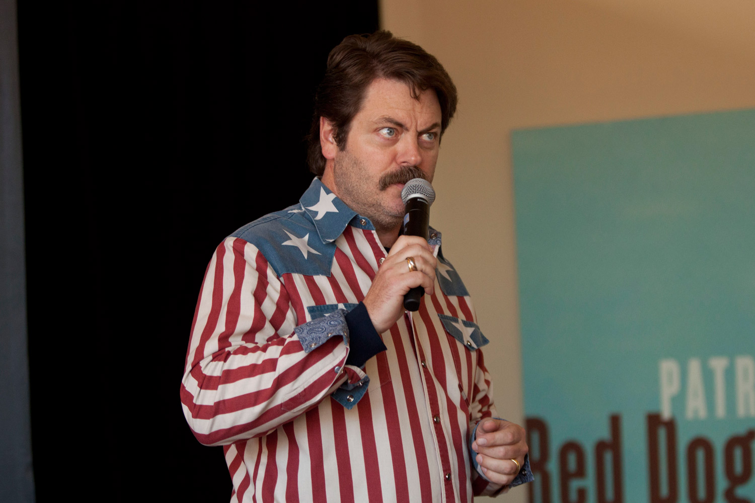Actor Nick Offerman from Parks and Recreation, a respected  mustached American