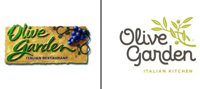 Left: Previous Olive Garden logo; Right: Updated logo as of March, 2014.