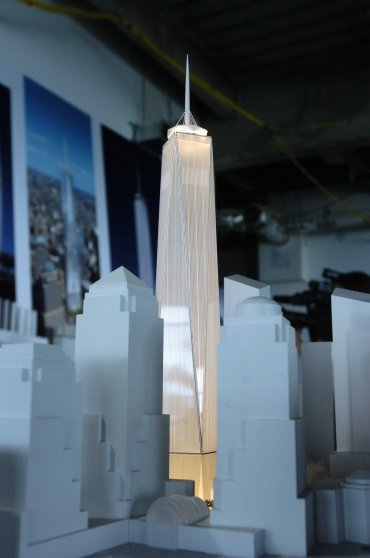 A model of the Freedom Tower, incorporating the newest desig