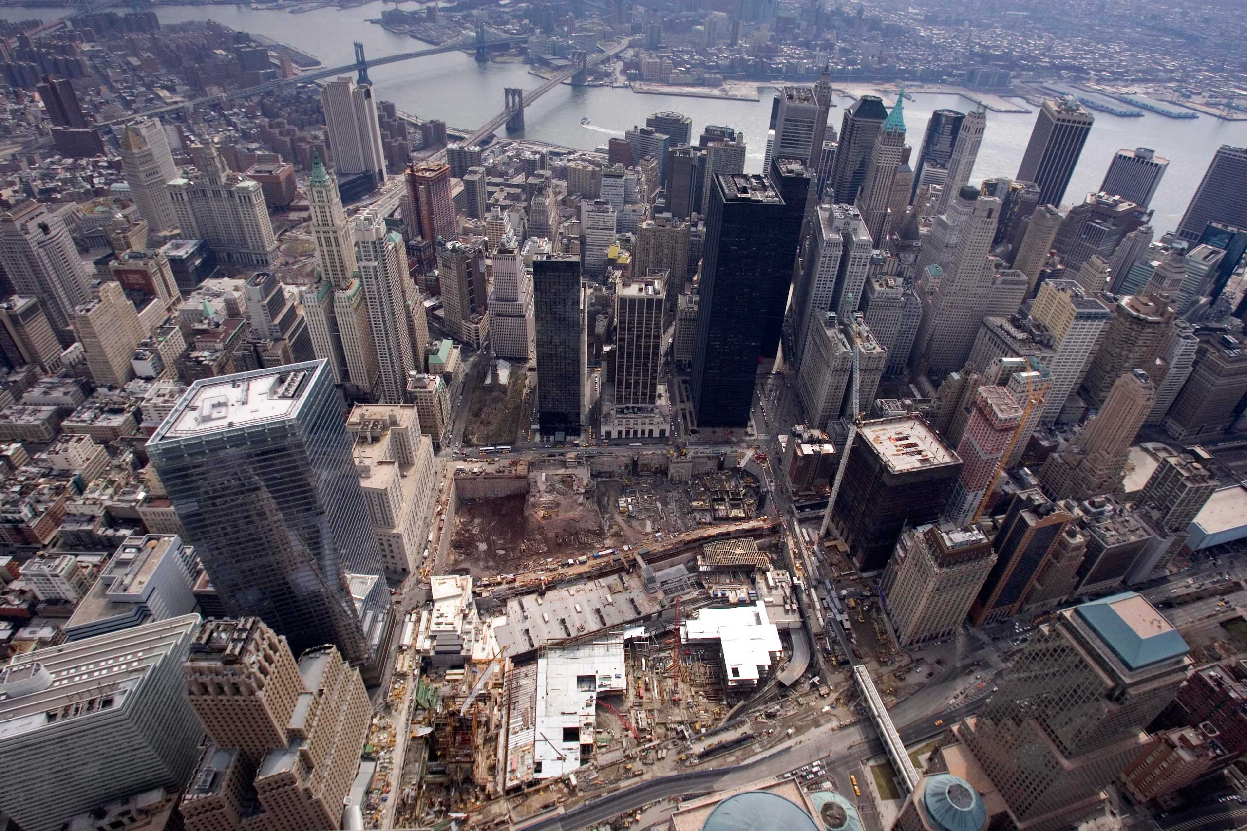 2009 The World Trade Center site and New York's financial district on March 22, 2009.
