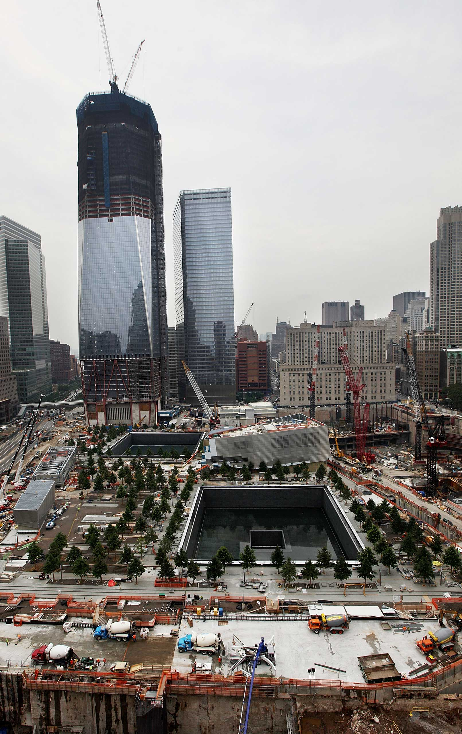 2011 Construction continues on One World Trade Center and the National Sept. 11 Memorial & Museum at the World Trade Center site on July 8, 2011.