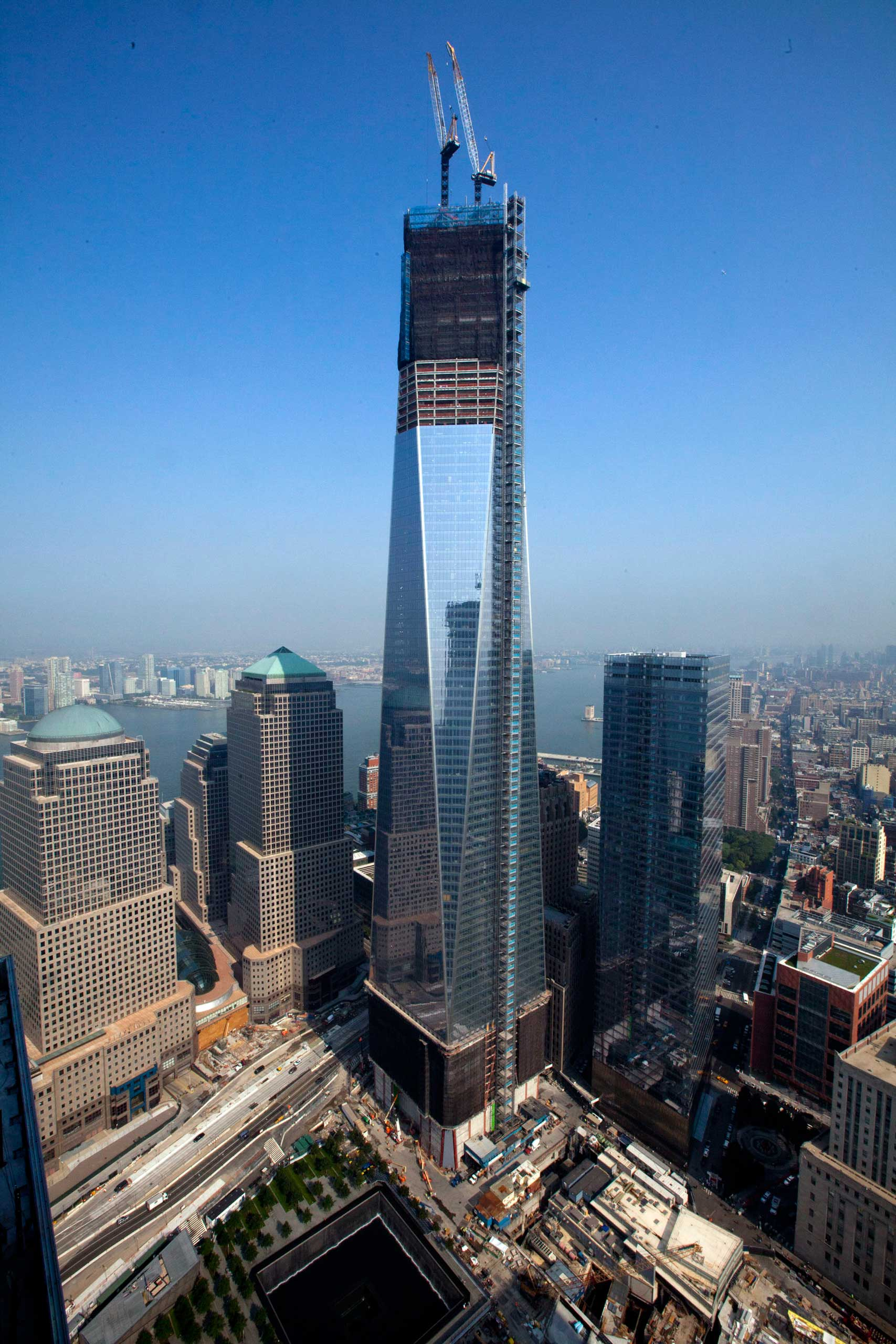 2012 The One World Trade Center building is seen from the 60th floor of 4 World Trade Center in New York on Sept. 7, 2012.