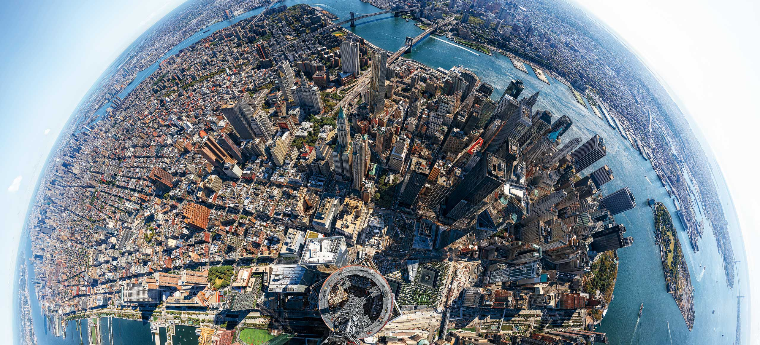 This panoramic photograph from the top of New York City's One World Trade Center was taken with a camera attached to a 13-ft.-long aluminum arm projecting from the spire. It's made up of 567 images taken over the course of five hours. Experience the view from One World Trade Center with TIME's exclusive interactive panorama.From  1 World Trade Center: TIME's View From The Top of NYC