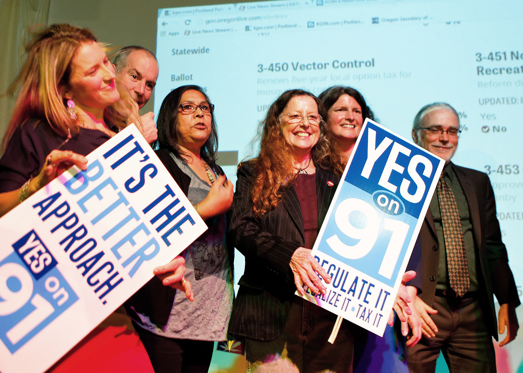Supporters for the legalization of marijuana celebrate at the Measure 91 party at Holocene night club in Portland, Ore., on Tuesday, Nov. 4, 2014.