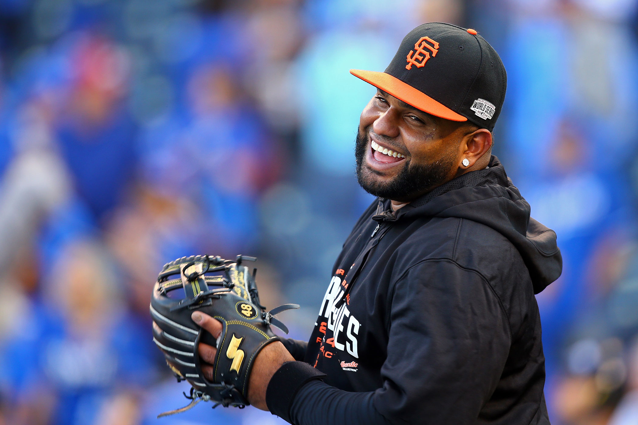 Pablo Sandoval of the San Francisco Giants warms up before Game Two of the 2014 World Series against the Kansas City Royals at Kauffman Stadium on October 22, 2014 in Kansas City, Missouri.