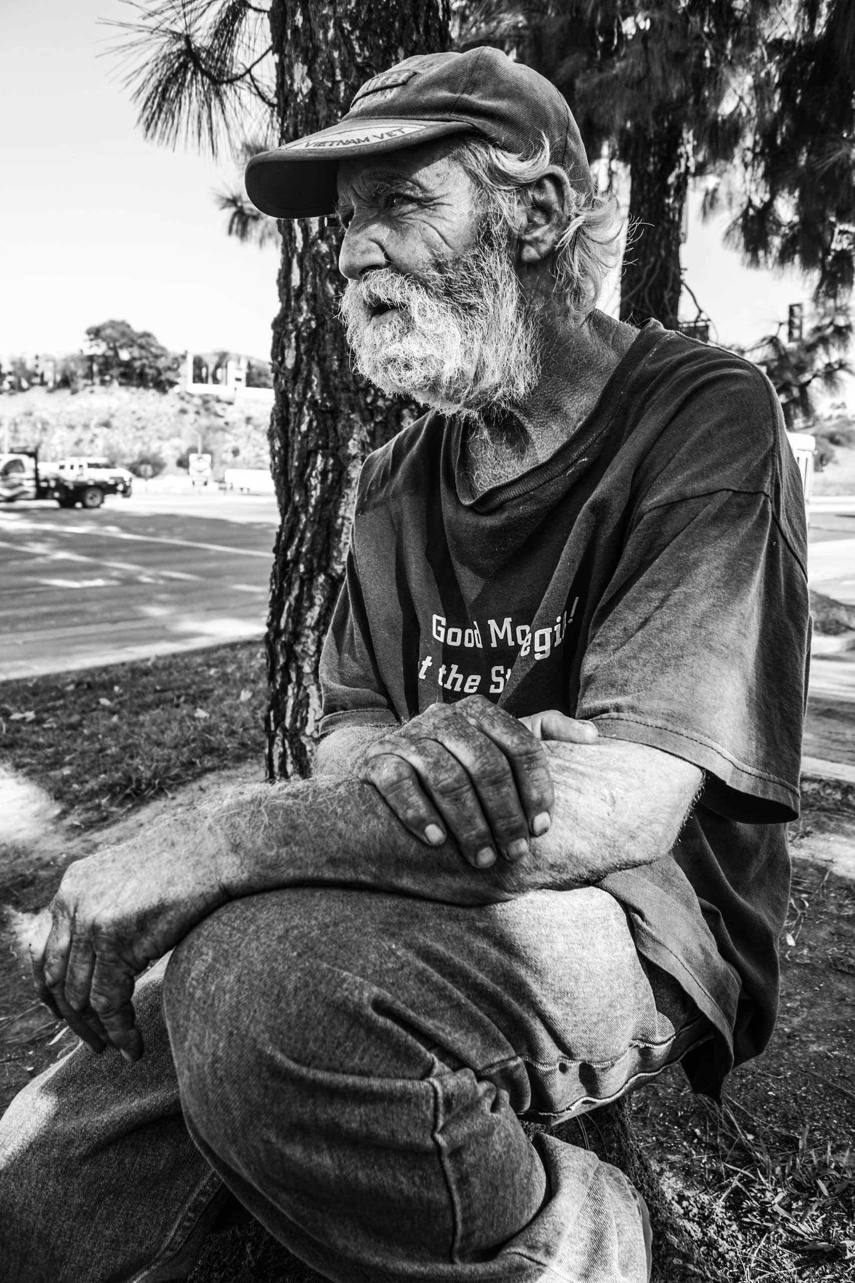 Sept. 24, 2014. Temple Street, Pomona, Calif.                                                               Rodney Farmer served nine years in the infantry as an airborne fighter. He has been sleeping in the streets for 14 months. He receives SSI (Supplemental Security Income) and gets my medical assistance from the Department of Veterans Affairs (VA).
