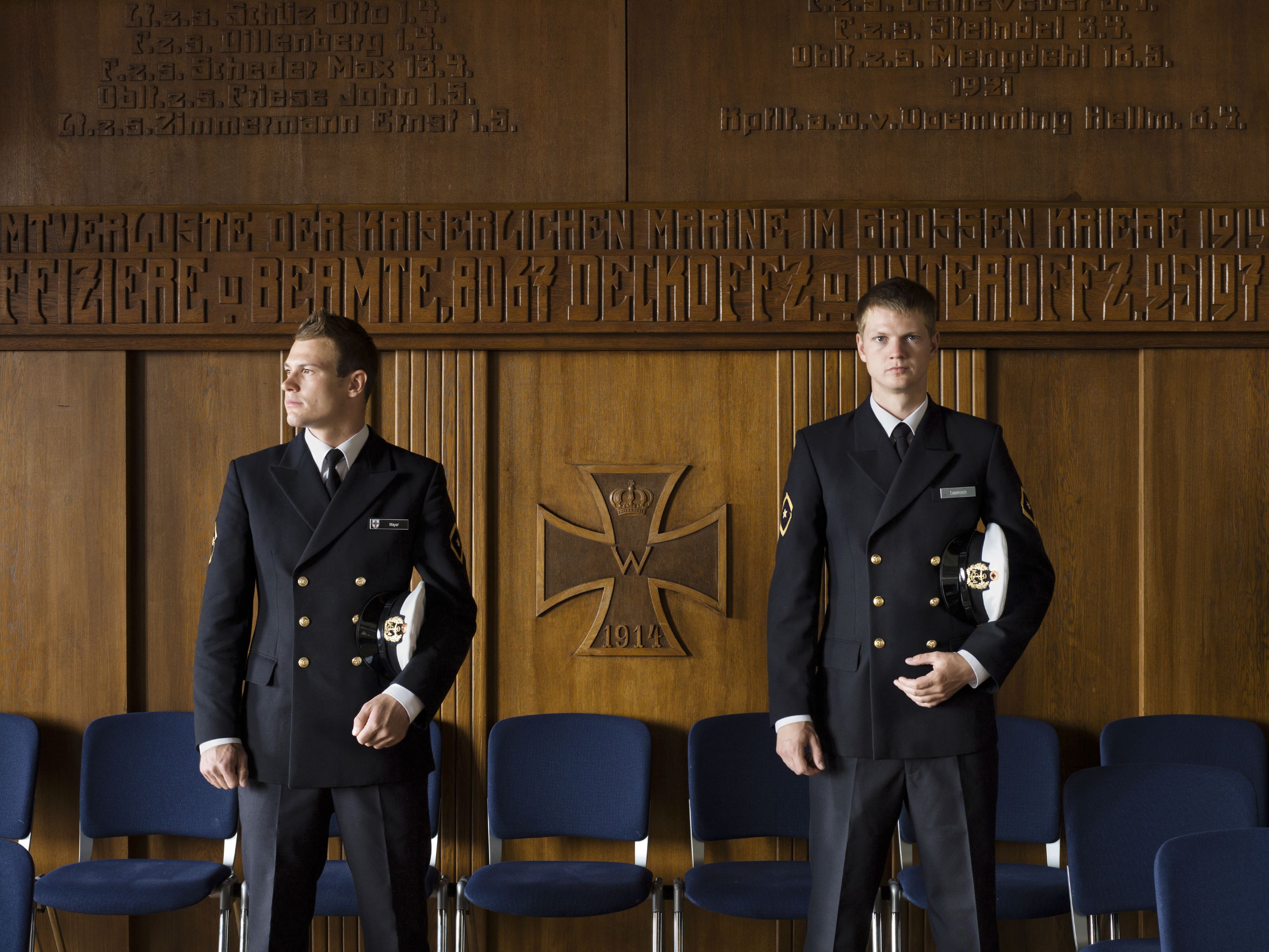 From left: Cadets Mayer and Eisenreich at Marineschule Mürwik, Mürwik, Germany,  July 19, 2011.