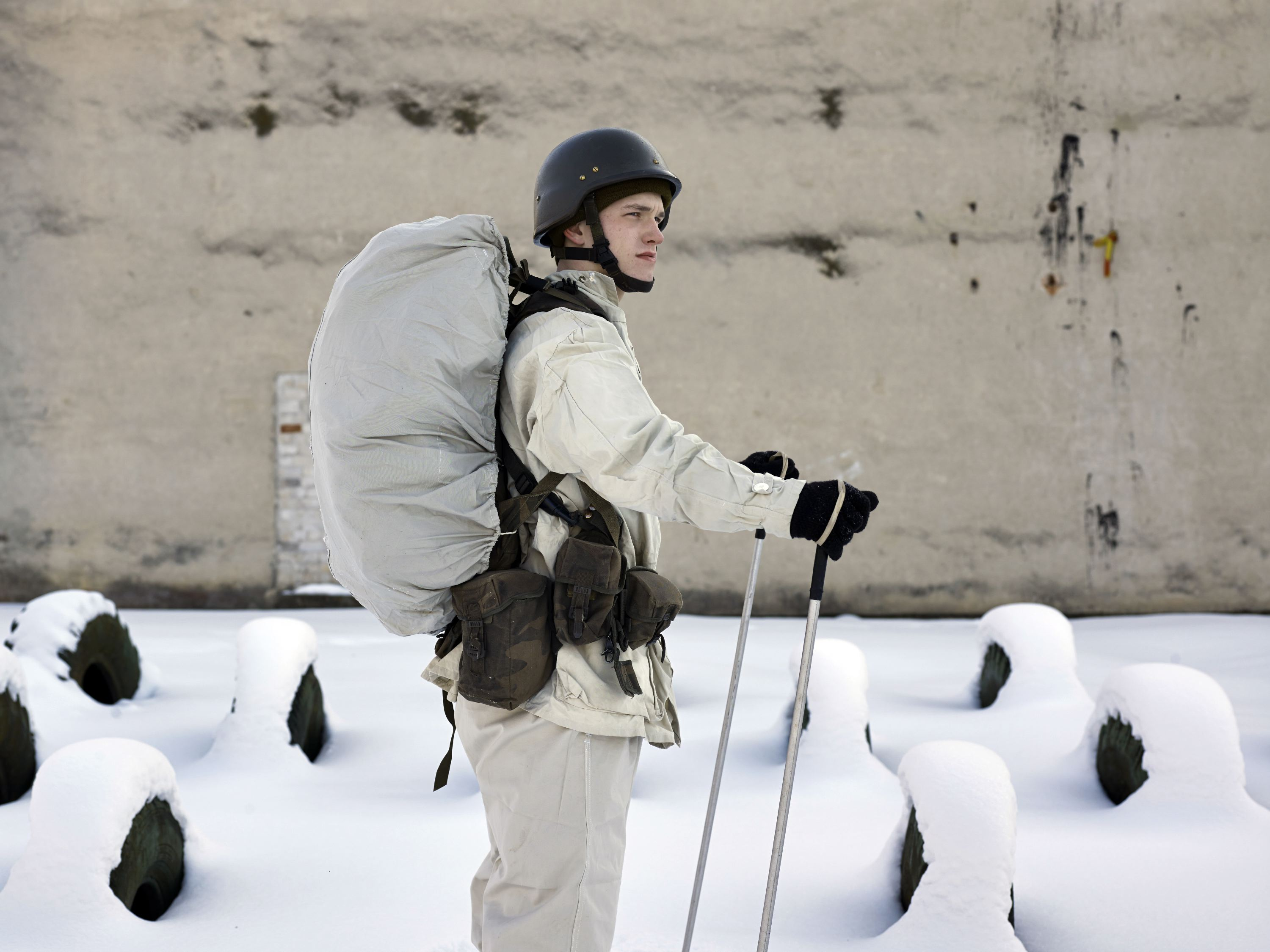 A cadet during training at The General Jonas Zemaitis Military Academy of Lithuania, Vilnius, Lithuania, Feb. 9, 2012.