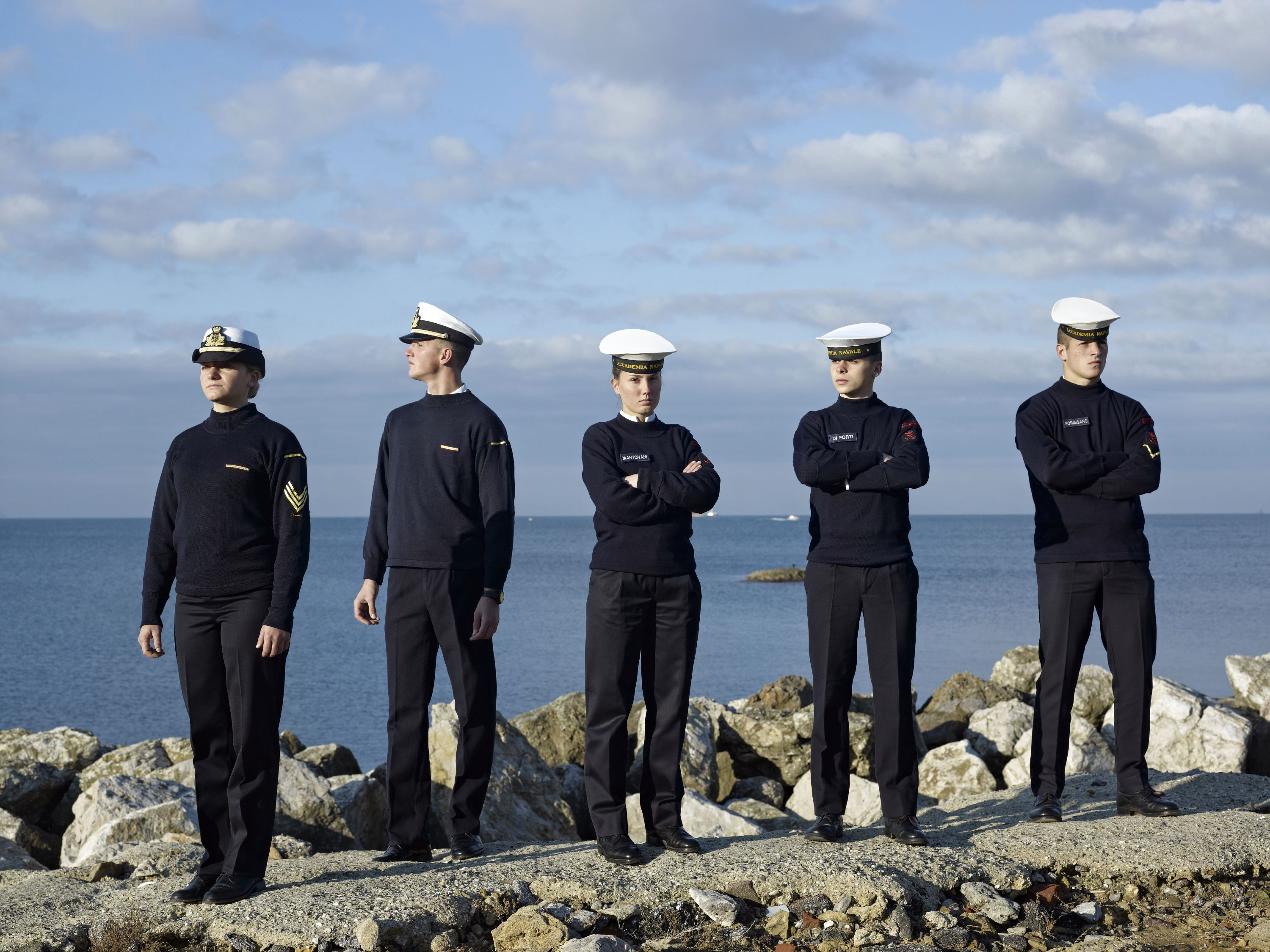Cadets in the seafront, Italian Naval Academy, Livorno, Italy, Nov. 21, 2012.