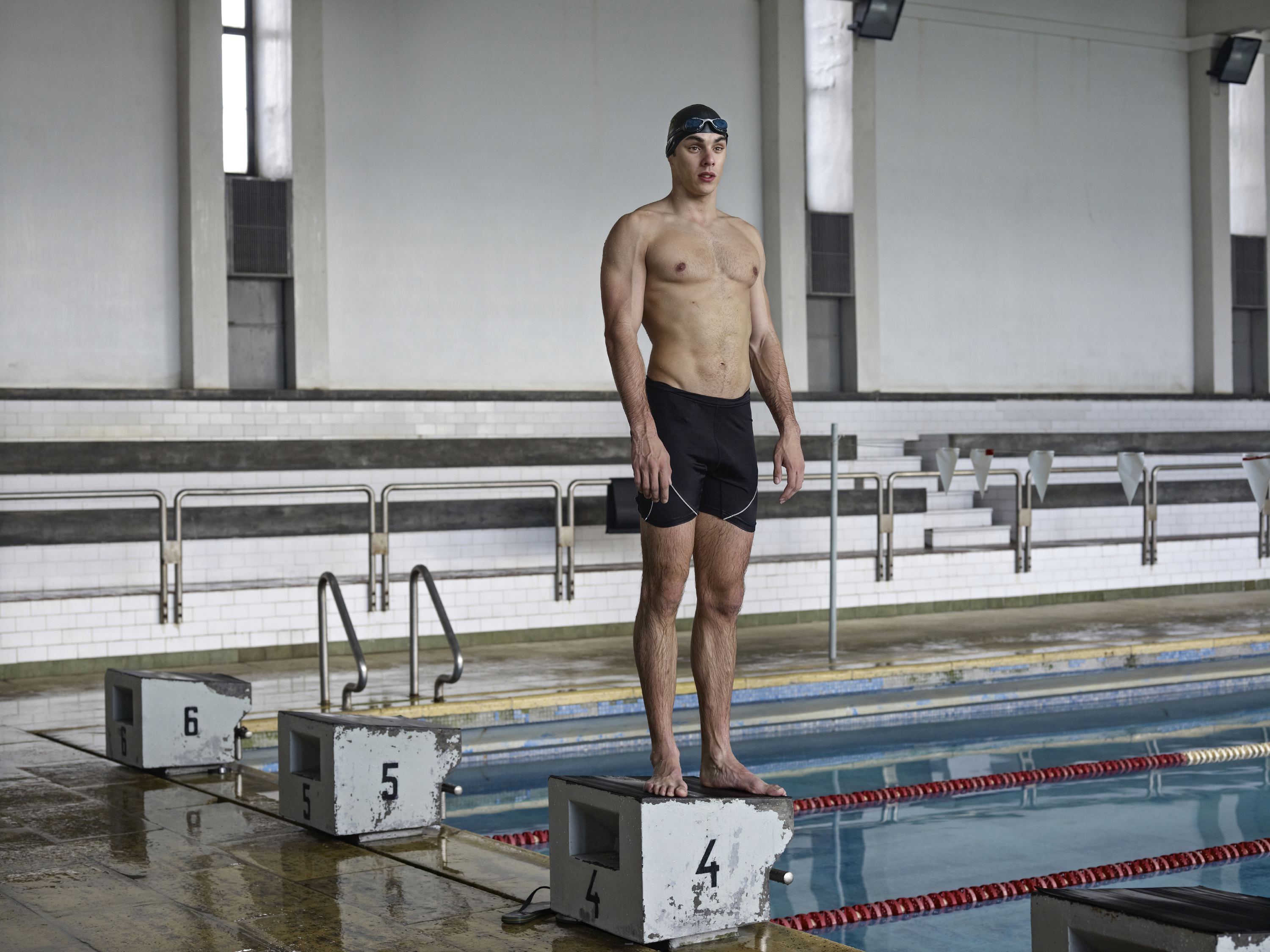 A cadet in the swimming pool of the Academia Militar, Lisbon, Portugal, Dec. 4, 2012.