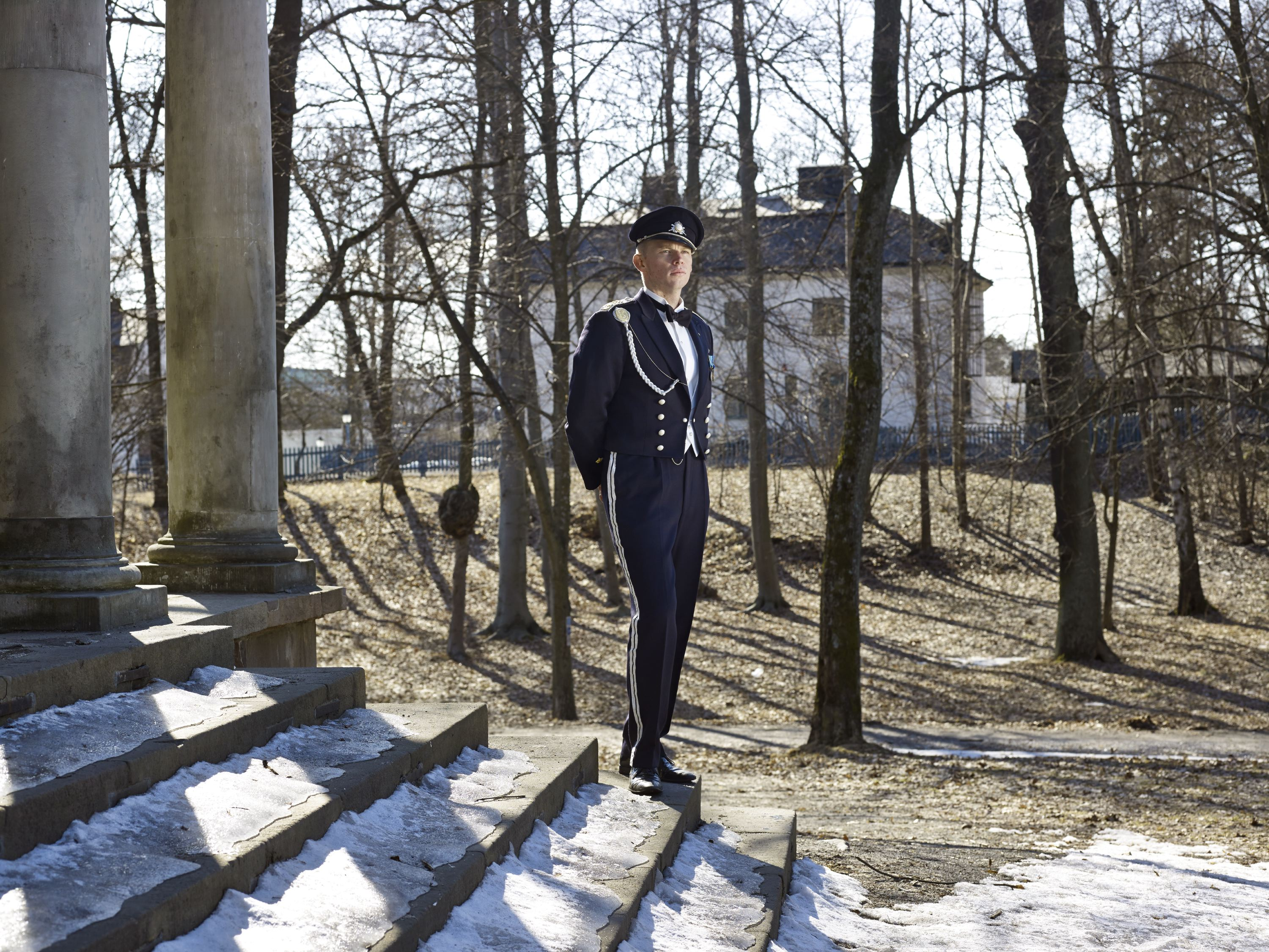 A cadet in front the  temple of Diana  located in the Academy park, Karlberg Military Academy, Stockholm, April 9, 2013.