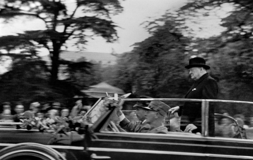 "SWITZERLAND. Zurich. 20 November 1946. British Prime Minister, Winston CHURCHILL on his visit to University where he delivered his historic speech ""Europe arise !"" (in French: ""Europe lËve-toi !"").First picture taken by RenÈ Burri, at age 13."