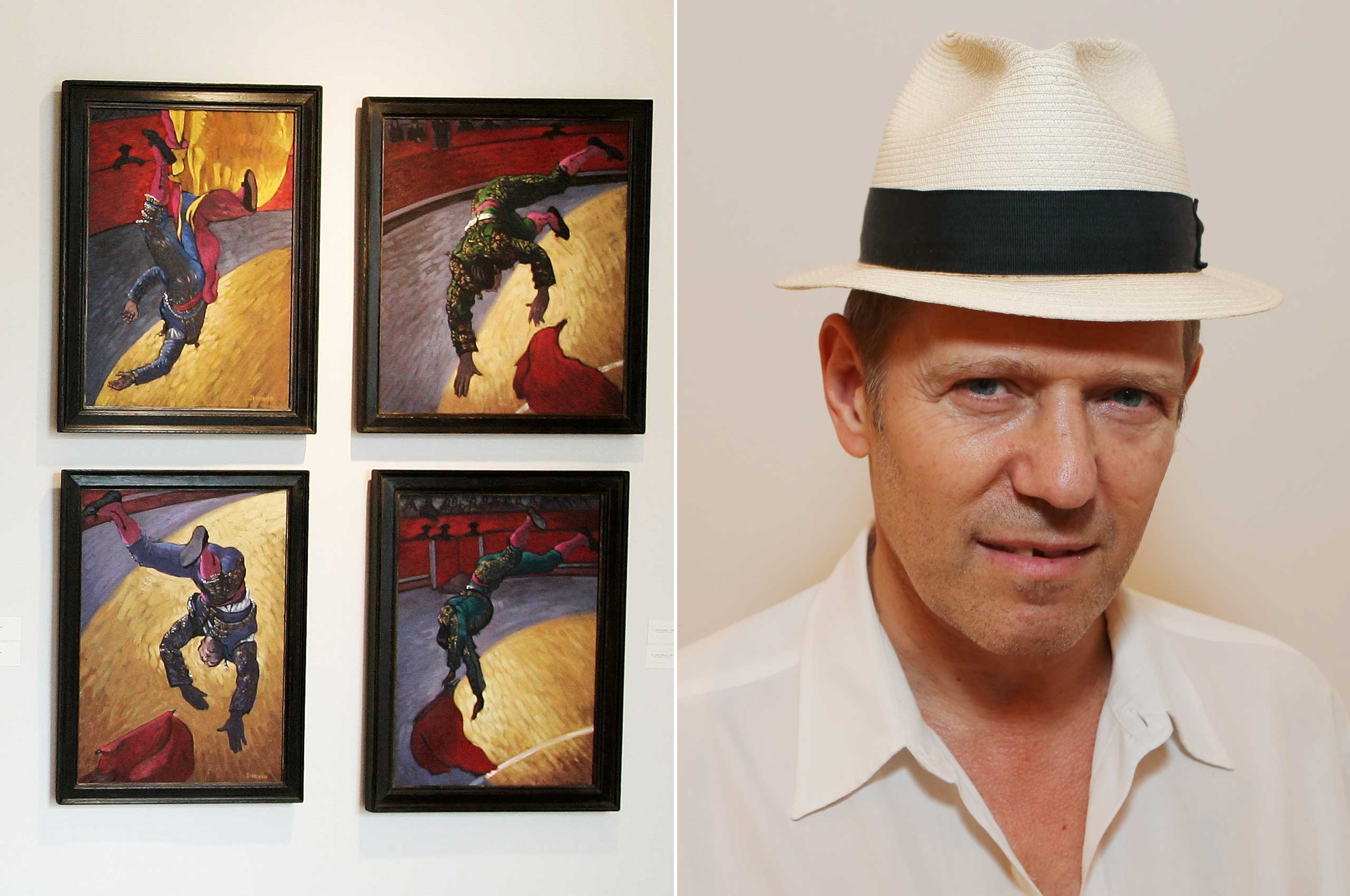 Paul Simonon, bassist for The Clash, created this series of oil paintings interpreting bullfights.